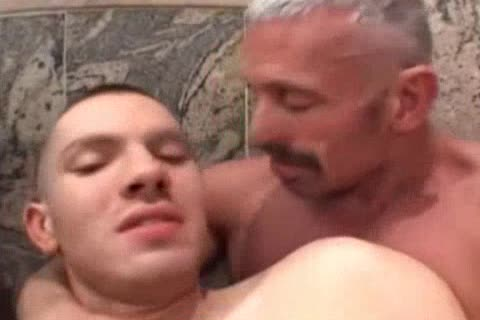 Muscle daddy pounds His lad
