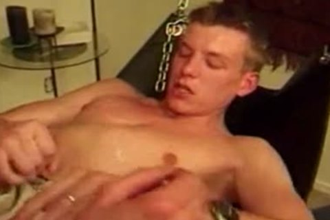 young man gets nasty ass with old in sex swing.