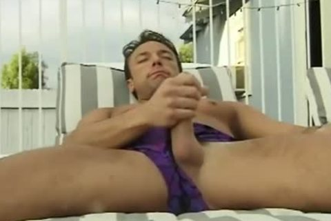 large penis Hunk Jerks His large shlong Beside The Pool