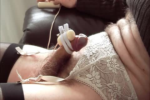 CD Edges And Cums Watching Porn With belted On dildo