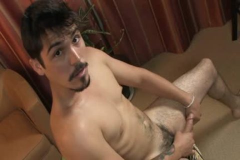 Goatee straight guy pokes toy And Jerks Off