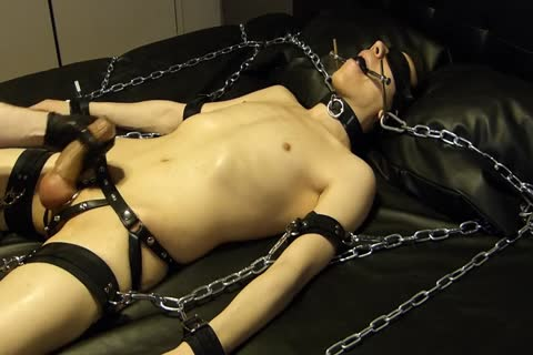 lad Comes Proudly With His recent Set Of Shiny Latex Restraints. he Doesn't Know Until Late That Their Efficacy Will Be Checked With Painful Electro On The thighs. As The Sub Has Not sperm For A Week, he's Masturbated Several Times With A Break Just