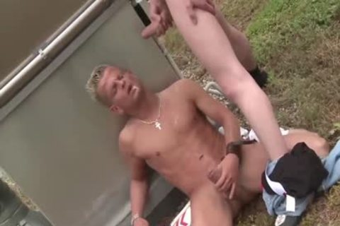 Two homosexual guys pounding outside In The city