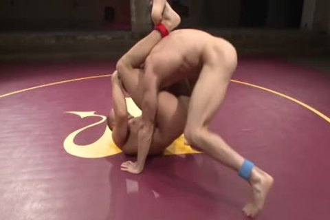naked Hunks Wrestle For Dominance