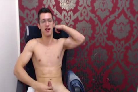 twink With Glasses Wanks His massive Uncut penis