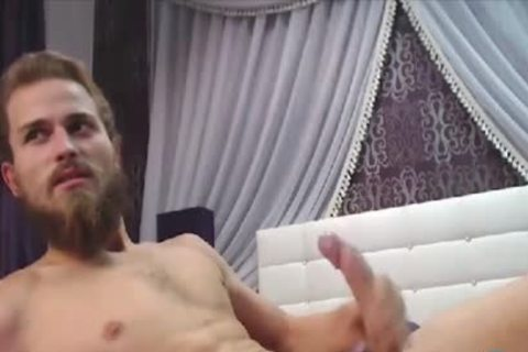 Bearded dude With A large Uncut Curved weenie Cums