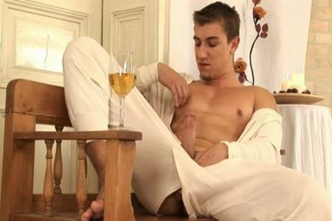This handsome homo chap Comes Home And Drinks Some Wine previous to His Has A Sensual Self Devotion Session