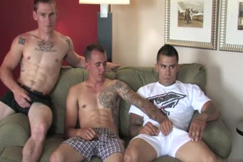Tattoo Military trio With ejaculation