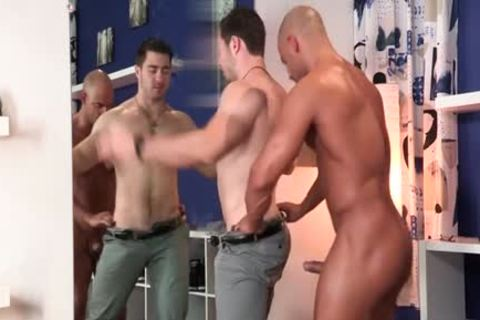 large 10-Pounder gay blowjob And ball cream flow