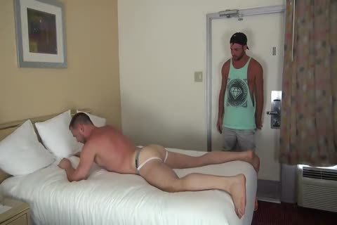 Muscle Bottom gets Team-poked In Hotel Room