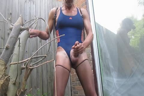 Outdoor cum In Swimsuit And pantyhose