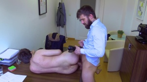 A slutty manager opens his attractive virgin wazoo