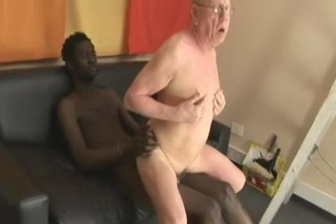 grand-dad engulfing & Getting drilled By giant darksome shlong