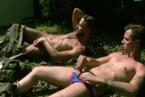 Gogeous Army guys stroking outdoors