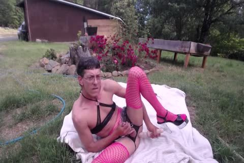 Outdoor dildo & Shovel bang For sperm drinking CD Sissy Pantyboy
