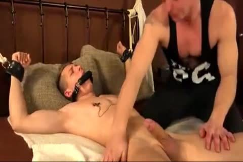 Cuffed twink Is poked And Sucked