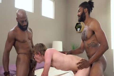 excited lad Serving Two males