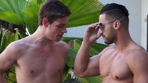 Falcon Studios: Michael DelRay in the swimsuit masturbation