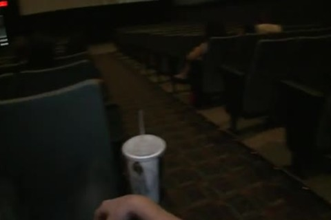 Public homo sex -- In a nailing movie theater!